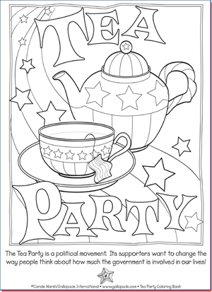 Political parties for kids tea party for Tea party coloring page